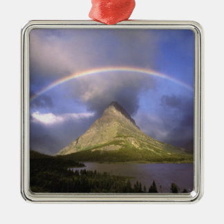 Full rainbow and stormy sky over Grinnell Silver-Colored Square Decoration