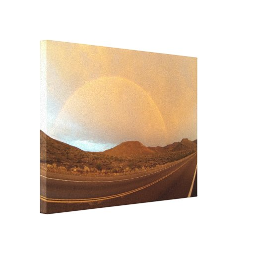 Full Rainbow over Trona Rd in the Mojave Desert Gallery Wrapped Canvas