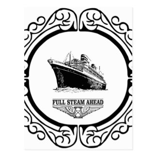 full steam ahead postcard