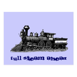 Full steam ahead vintage railway engine postcard