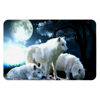 Full Wolf Moon Rectangular Photo Magnet
