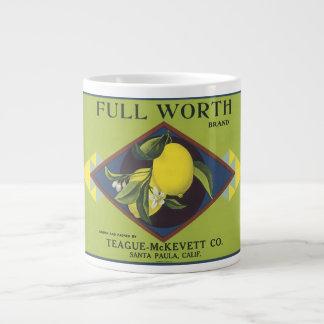 Full Worth Lemon Fruit Crate Label 20 Oz Large Ceramic Coffee Mug