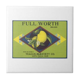 Full Worth Lemon Fruit Crate Label Small Square Tile