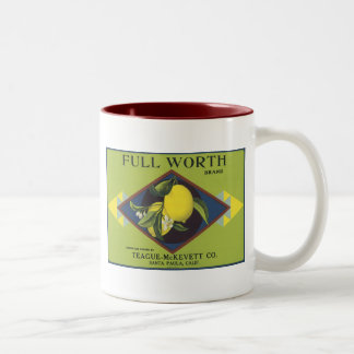 Full Worth Lemon Fruit Crate Label Two-Tone Coffee Mug