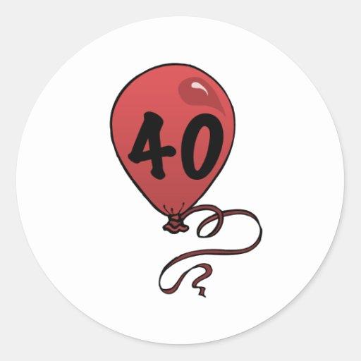 Fun 40th Birthday Party Supplies Round Sticker