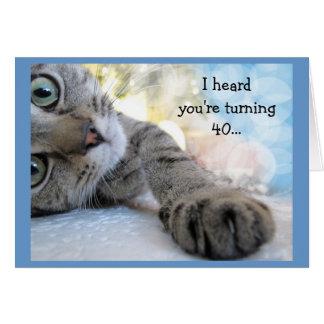 Fun 40th Birthday with Cat Animal Humor Card