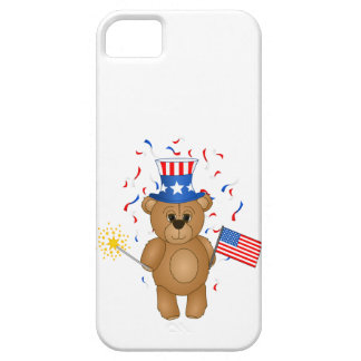 Fun 4th July Independence Day Cute Teddy Bear iPhone 5 Cases