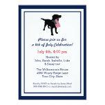 Fun 4th of July Black Lab with USA American Flag 13 Cm X 18 Cm Invitation Card