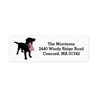 Fun 4th of July Black Lab with USA American Flag Return Address Label