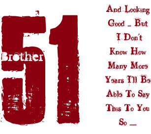 Fun 51st Birthday Brother Red And White Text Card