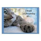 Fun 80th Birthday with Cat Animal Humour Card