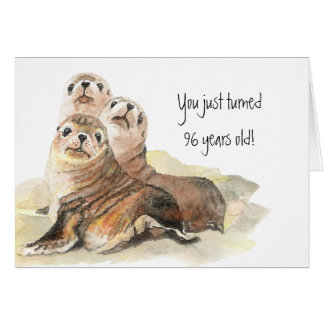 "Fun 96th Birthday ""Don't grow up "" Cute Seals Card"