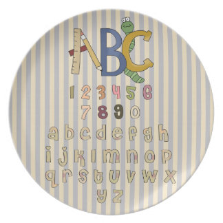 Fun ABC Alphabet Numbers Kids Plate