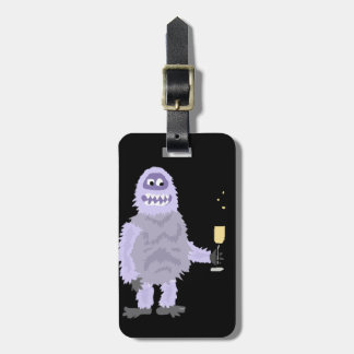 Fun Abominable Snowman Celebrating with Champagne Bag Tag