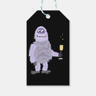 Fun Abominable Snowman Celebrating with Champagne Gift Tags