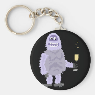 Fun Abominable Snowman Celebrating with Champagne Key Ring