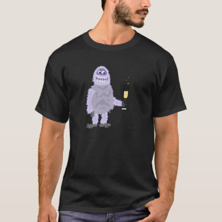 Fun Abominable Snowman Celebrating with Champagne T-Shirt