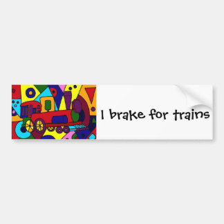 Fun Abstract Art Train Design Bumper Sticker