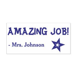 "Fun ""AMAZING JOB!"" + Teacher's Name Rubber Stamp"