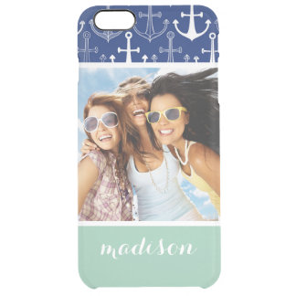 Fun Anchor Pattern | Your Photo & Name Clear iPhone 6 Plus Case