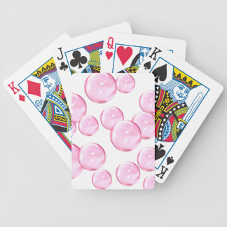Fun and Awesome Pink Bubbles on White Bicycle Playing Cards