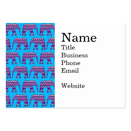 Fun and Bold Chevron Elephants on Teal Business Card Templates