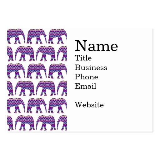 Fun and Bold Chevron Elephants on White Business Card