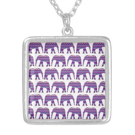 Fun and Bold Chevron Elephants on White Pendant