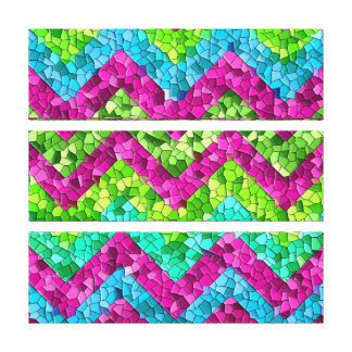 Fun and Bright Chevron Mosaic Tile Pattern Stretched Canvas Prints