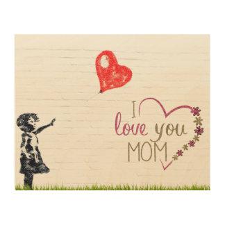 Fun and Charming I Love You Mom Wood Wall Art