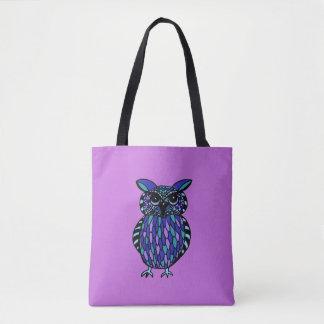 Fun and Colorful Hand Drawn Owl Tote Bag