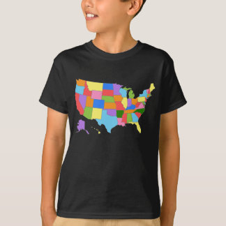 Fun and Colourful Rainbow Map of the USA T-Shirt