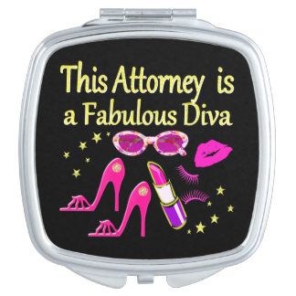 FUN AND FABULOUS ATTORNEY DIVA DESIGN COMPACT MIRRORS