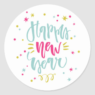 Fun and Festive Calligraphy Happy New Year Sticker