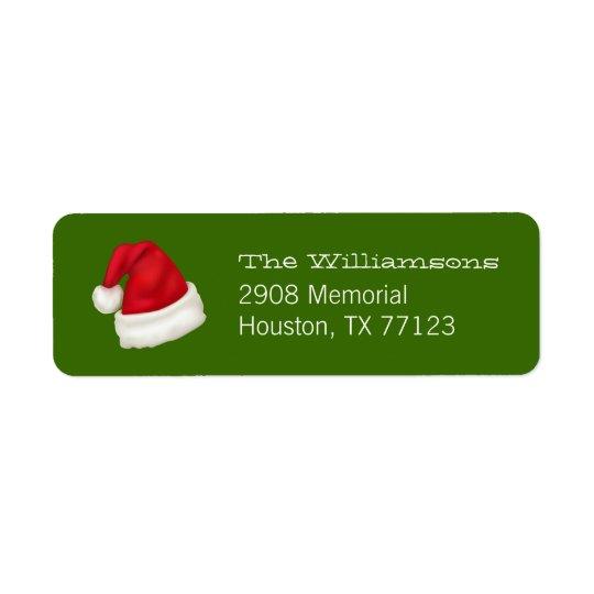 Fun and Festive Custom Santa Hat Dark Green 2 Return Address Label