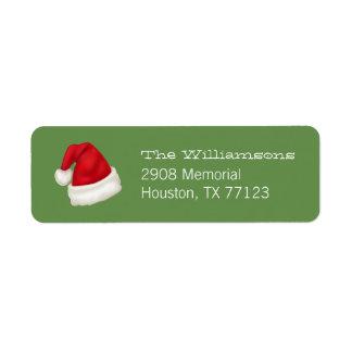 Fun and Festive Custom Santa Hat on Green 2 Return Address Label