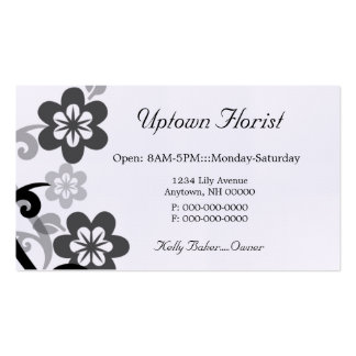 Fun and Flirty Floral Business Card, Gray