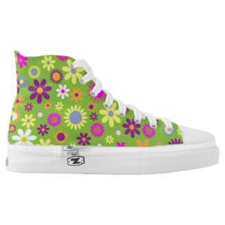 Fun and Funky Colorful Flower High Top Sneakers
