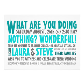 Fun and Modern Wedding Invitation - Any Color