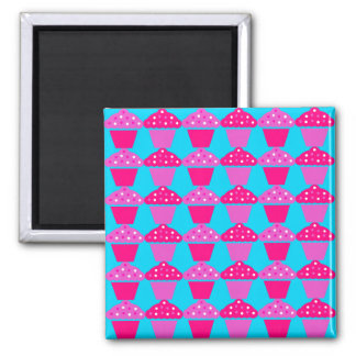 Fun and Sassy Hot Pink and Purple Cupcakes Square Magnet