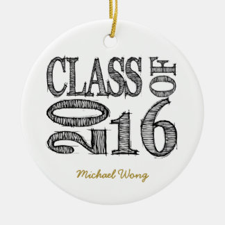 Fun and Simple Pen Sketch Class of 2016 Graduation Ceramic Ornament