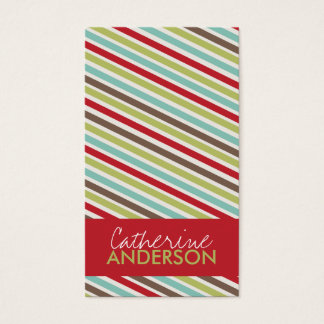 Fun Angled Stripes Business Cards