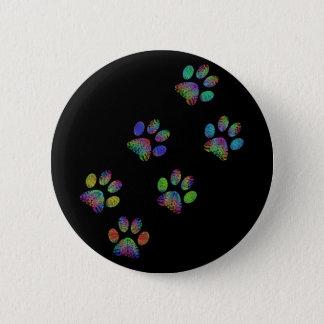 Fun animal paw prints. 6 cm round badge