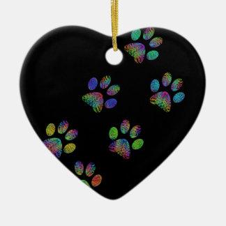 Fun animal paw prints. ceramic ornament