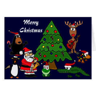 Fun Animals and Music Christmas Card