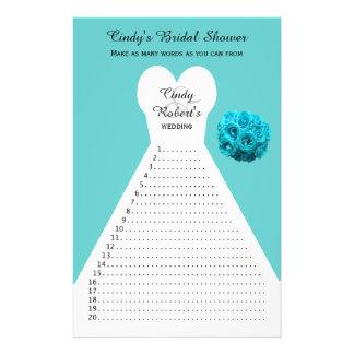 Fun Aqua Bridal Shower Word Games Flyer