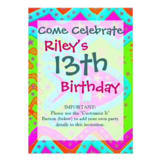 Fun Aquatic Fish Stars Colorful Kids Doodle Personalized Announcements