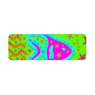 Fun Aquatic Fish Stars Colorful Kids Doodle Return Address Label