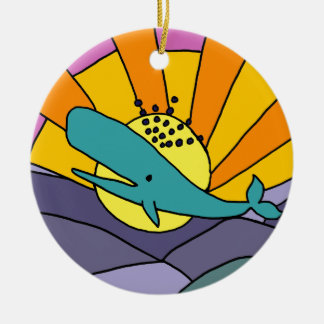 Fun Artistic Whale and Sun Abstract Art Ceramic Ornament