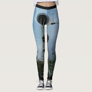 Fun Artsy Tropical Space Needle Leggings (No Logo)